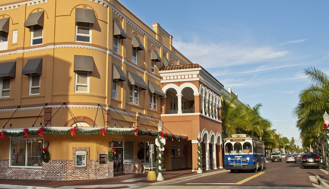 Downton And Trolley Car In Fort Myers Florida, US Cities Rich In Hispanic Culture