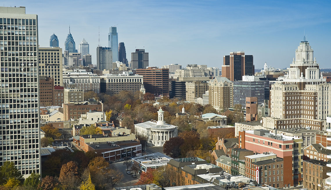 Aerial View Of Downtown Philadelphia Pennsylvania, US Cities Rich In Hispanic Culture