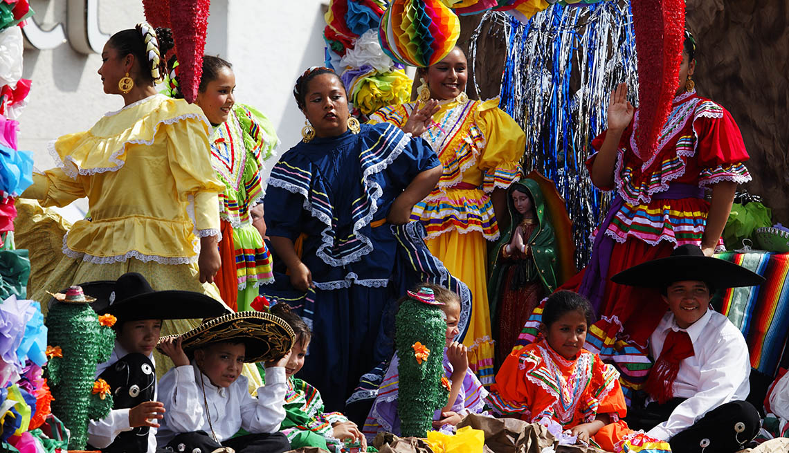 Locals Dressed In Native Dress For The Colorado State Fair Parade In Pueblo Colorado, US Cities Rich In Hispanic Culture