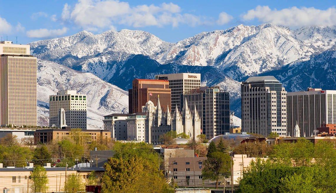 View Of The Skyline Of Salt Lake City In Utah, US Cities Rich In Hispanic Culture