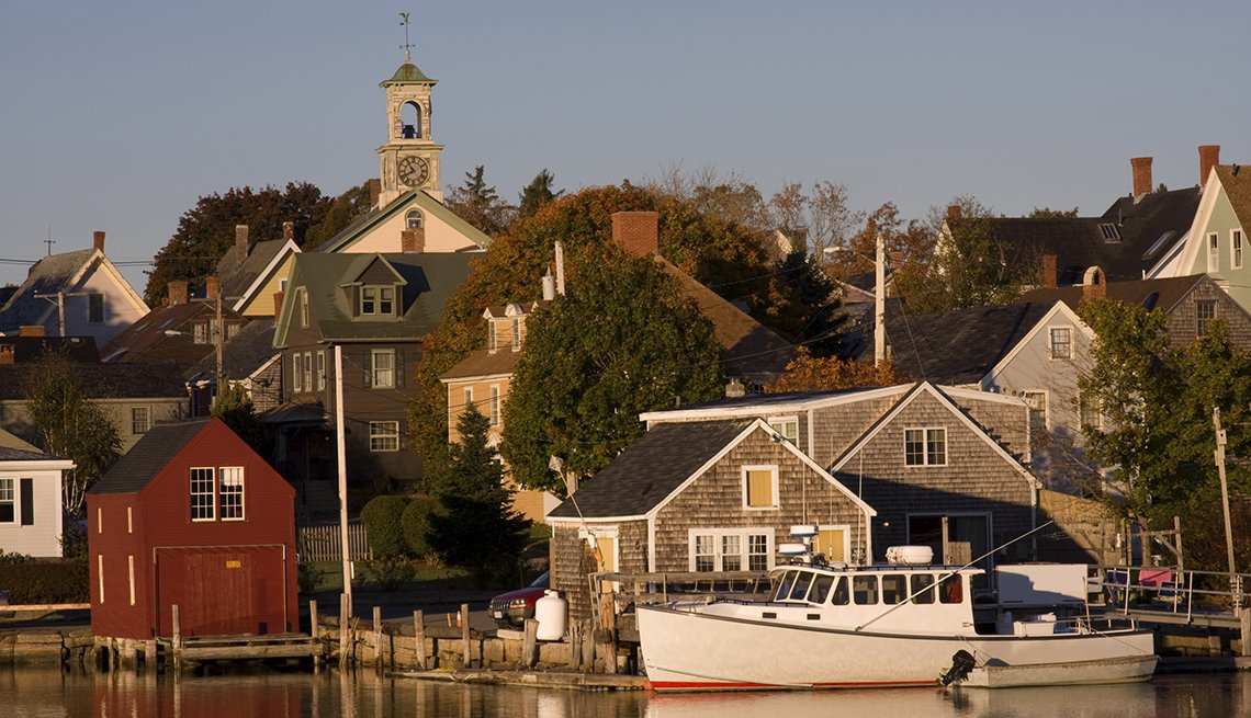 Houses by the waterfront in Portsmouth New Hampshire.