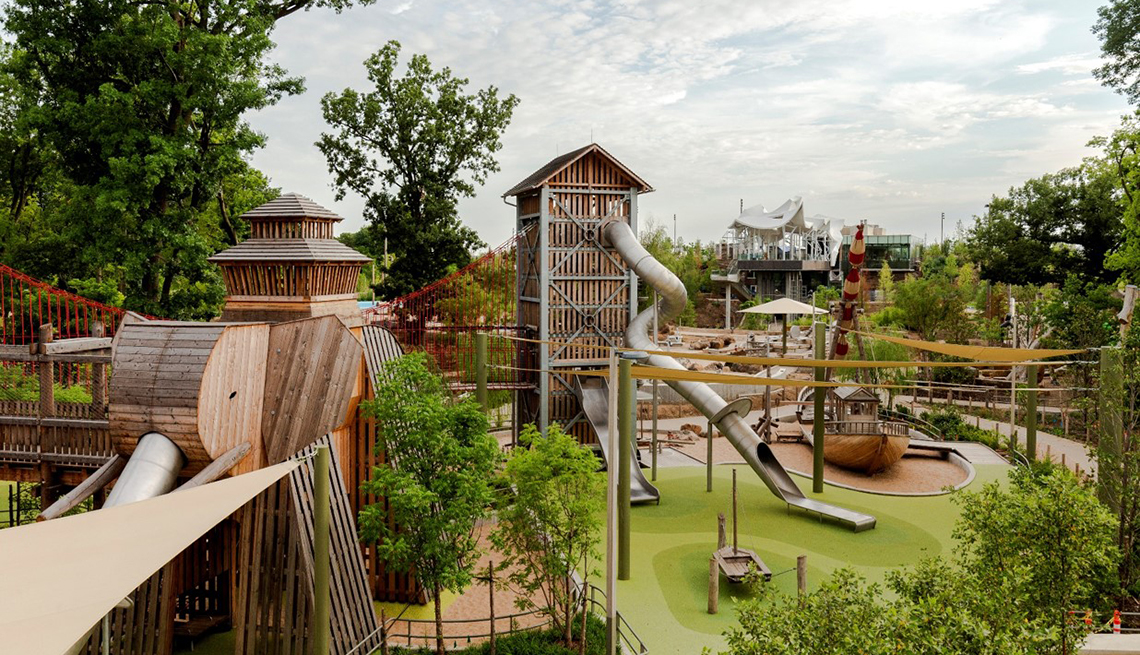 Extravagant playground area with towers and slides called adventure place in Tulsa Oklahoma