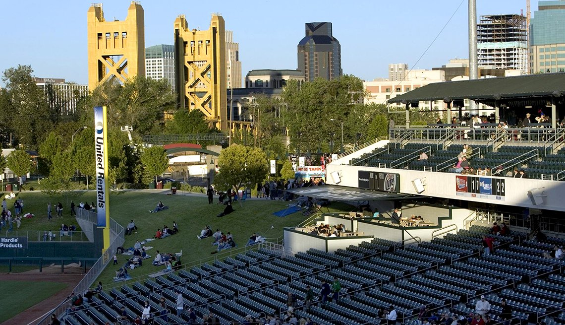 View from the stands at Raley Park in West Sacramento that shows some background city skyline uildings as well