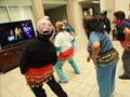 The Kinect Xbox has activities for seniors as seen here at the St. Barnabas Senior Center in Los Angeles, CA