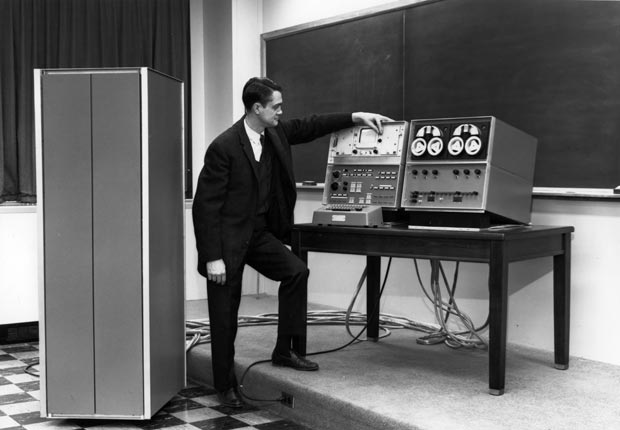 Wes Clark conducts the first public demonstration of the LINC (Laboratory Instrument Computer) on March 27, 1962.