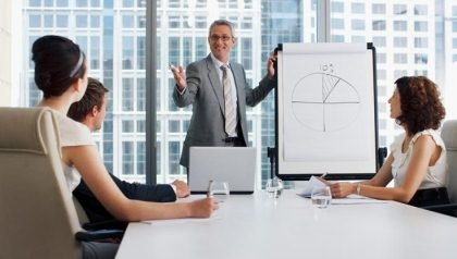 Businessman explaining flip chart to co-workers in conference room, Innovation@50+ (Ocean/Corbis)