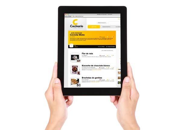 iPad con la página web Cocinario en la pantalla, Gadgets para la cocina