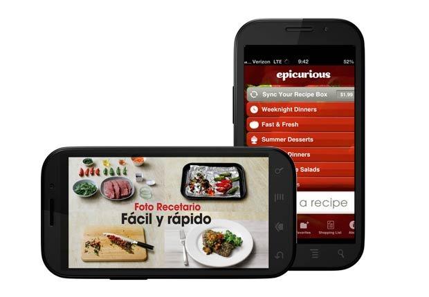 iPhones con App Epicurious en la pantalla, Gadgets de cocina