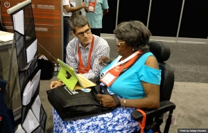 Breezie booth demo at Health Innovation@50+ Tech Expo during Life@50+ Las Vegas (Photo by Sanjay Khurana)