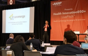 Caremerge LivePitch at Health Innovation@50+ Tech Expo during Life@50+ Las Vegas (Photo by Chris Sherman)