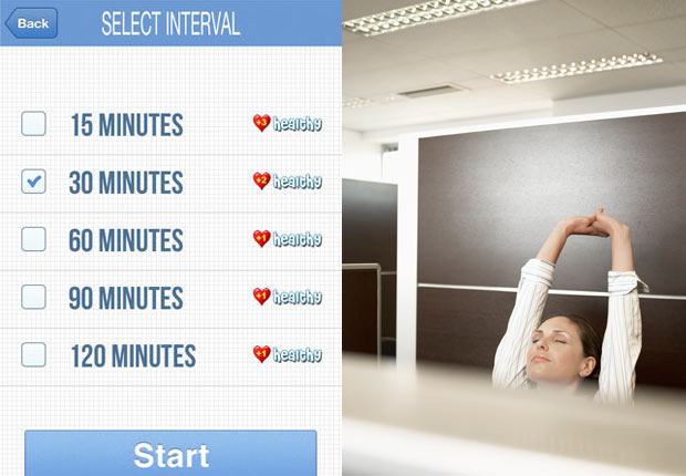 Screenshot from StandApp; woman stretching in office.