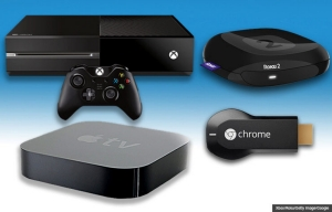 Xbox One, Roku 2, Apple TV, and Google Chromecast, Streaming devices for TV and Movies. (Xbox/Roku/Getty Image/Google)