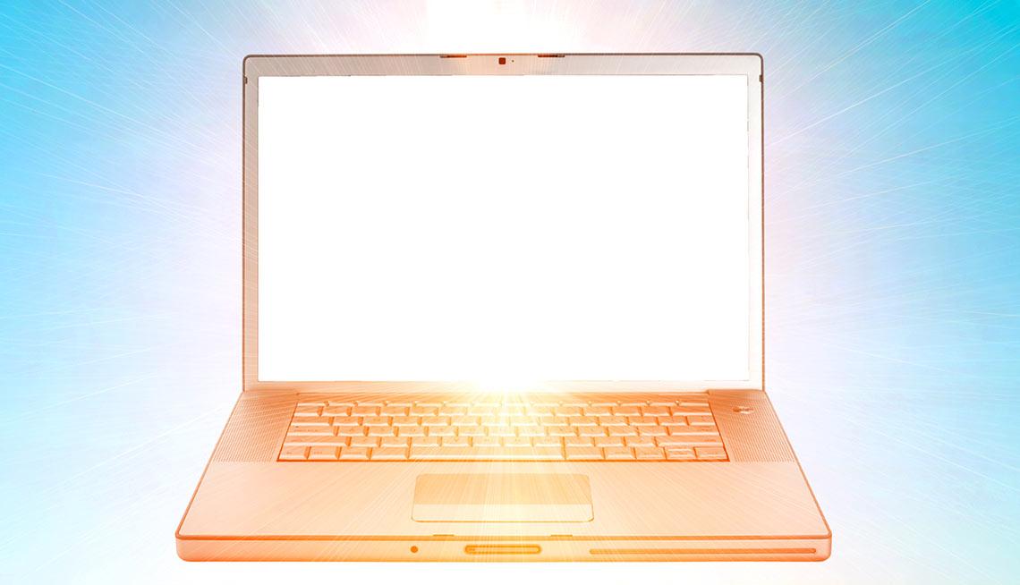 computer floating in heaven
