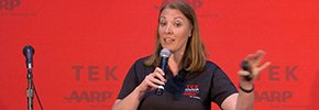 Jen Reeves speaks about '5 tips for Facebook' during an AARP TEK event