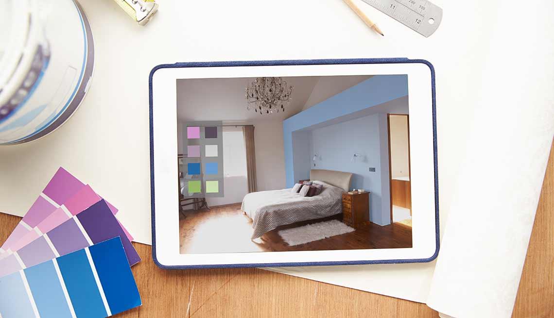 Tablet con aplicación para remodelar la casa