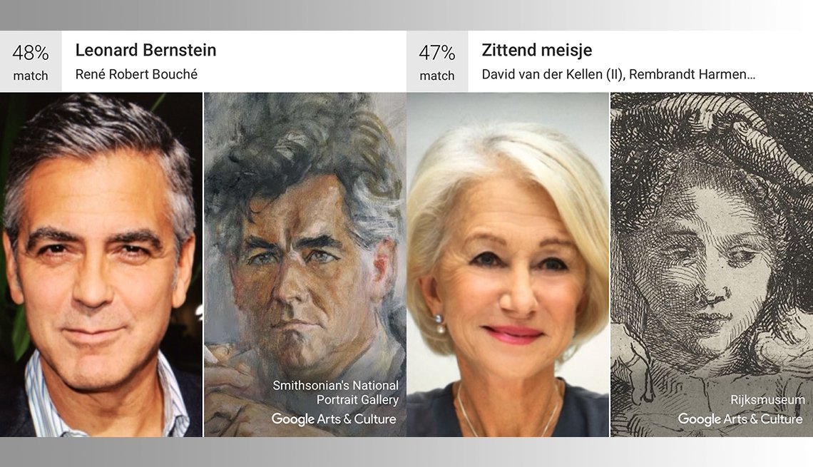 Photos of George Clooney and Helen Mirren matched to classical artwork