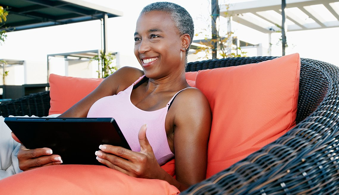 Mature woman using a tablet
