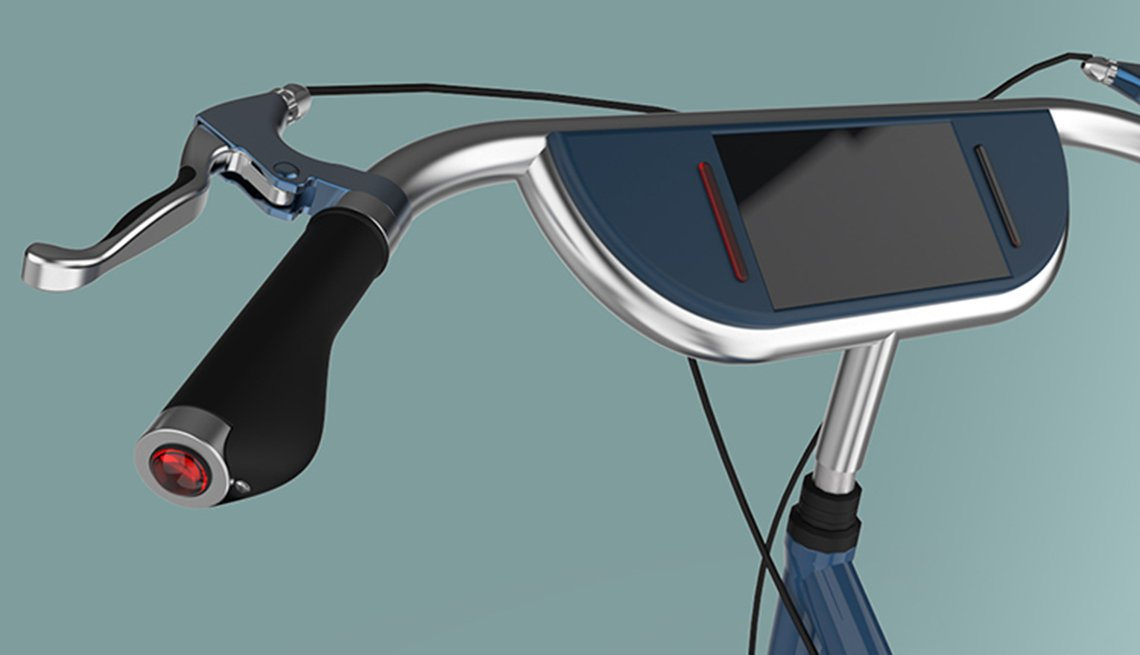 Bicycle prototype design for older riders, screen in center of handlebar