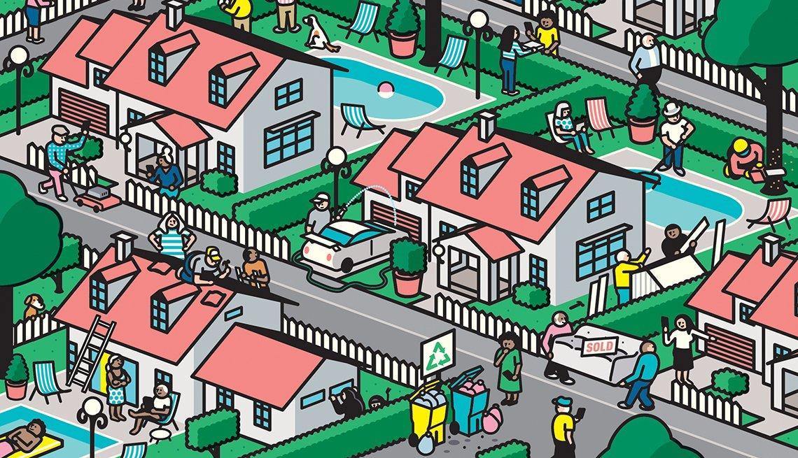 Ilustración de un vecindario con personas haciendo actividades cotidianas.