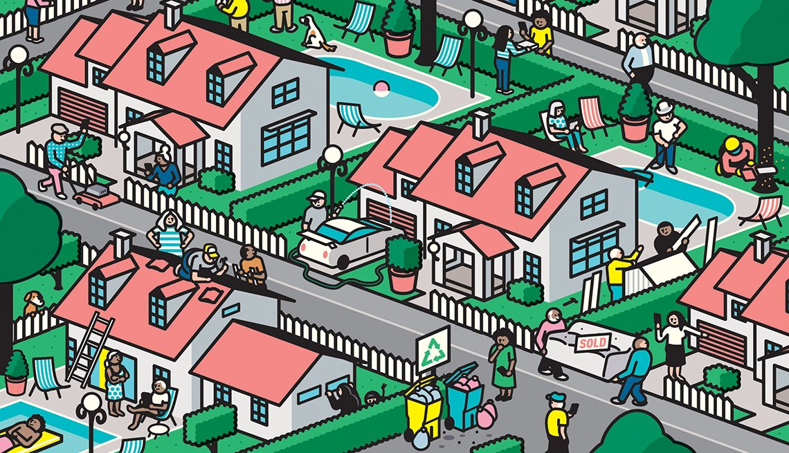 Illustration of a busy residential neighborhood with a lot of people outside doing various things.