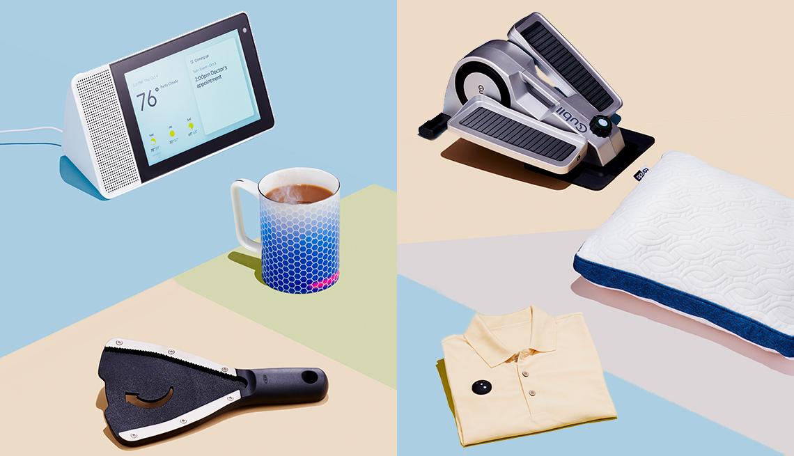 Various tech gadgets including a mug warmer, jar opening, cooler pillow and UV shirt monitor