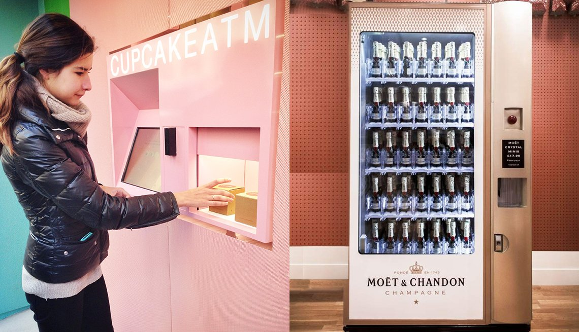 A woman getting a cupcake from a vending machine, a champagne vending machine.