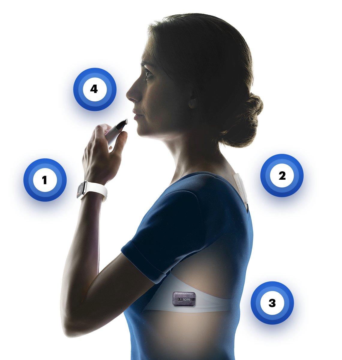 Una mujer con cuatro dispositivos de seguimiento de la salud.