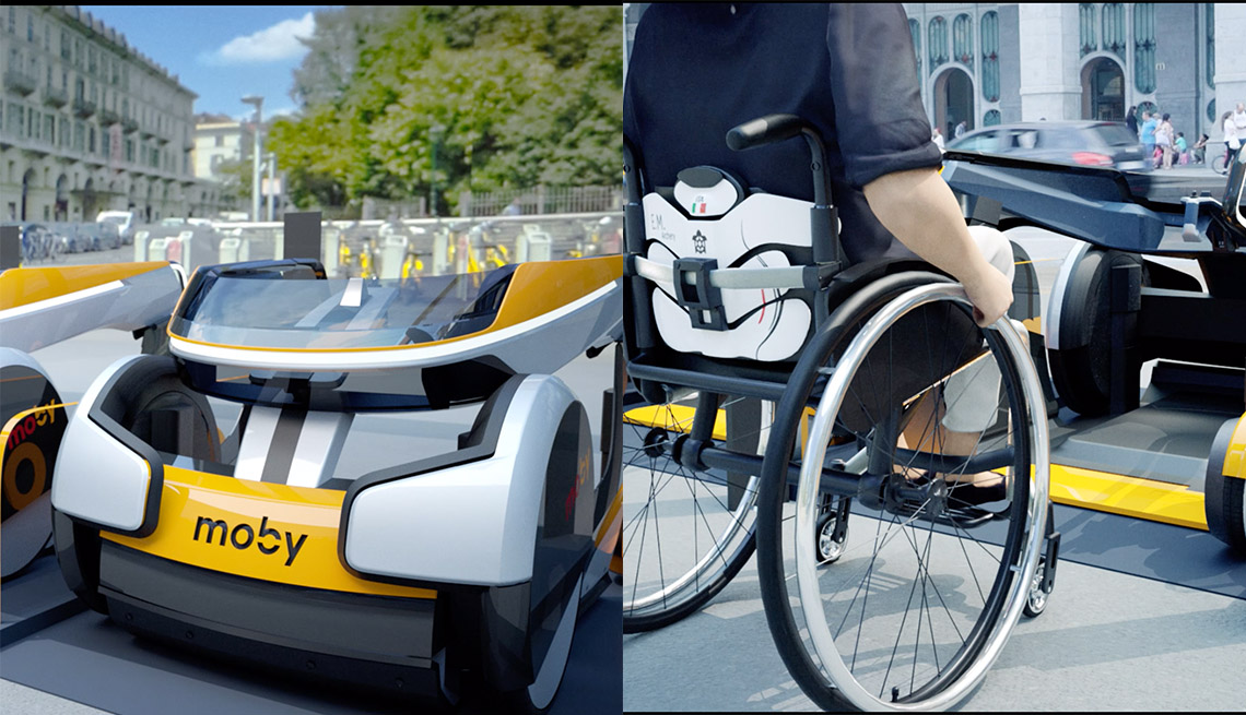concept art of wheelchair-sharing service Moby