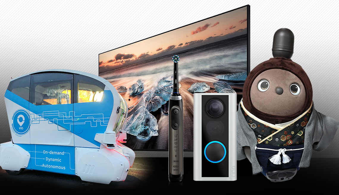 Various tech gadgets include a self-driving vehicle, tv, toothbrush, doorbell, love robot