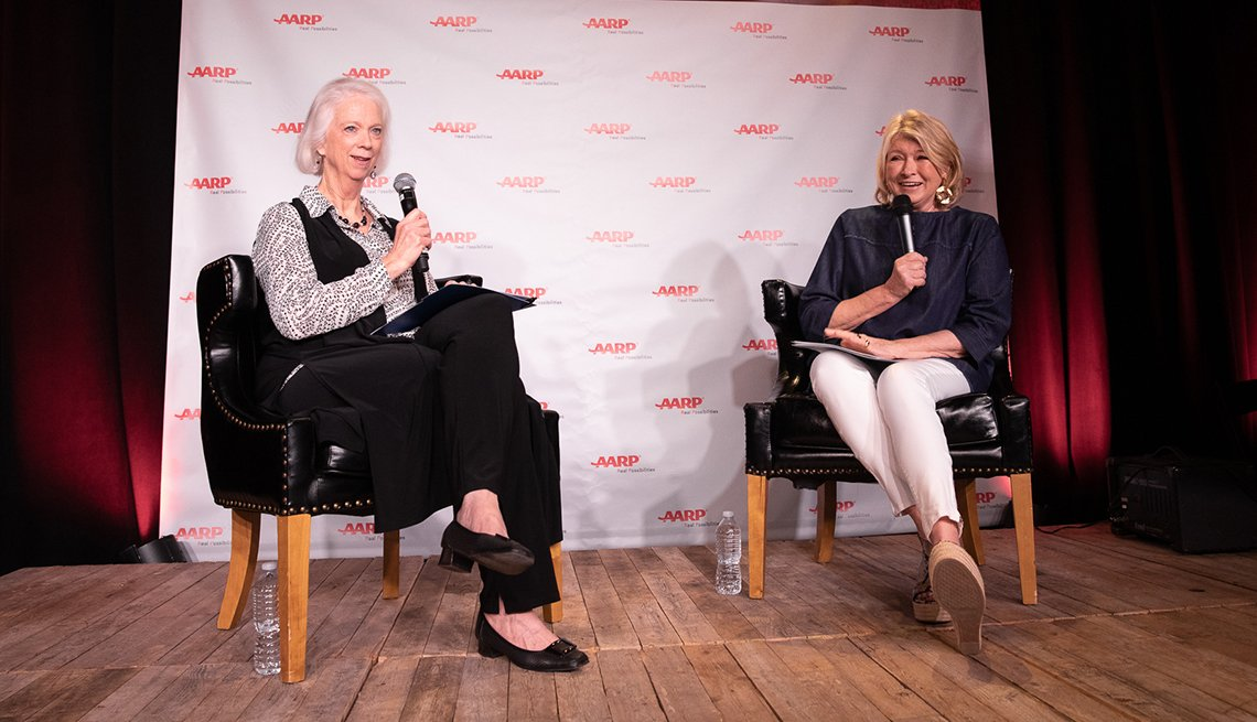martha boudreau and martha stewart on stage at sxsw