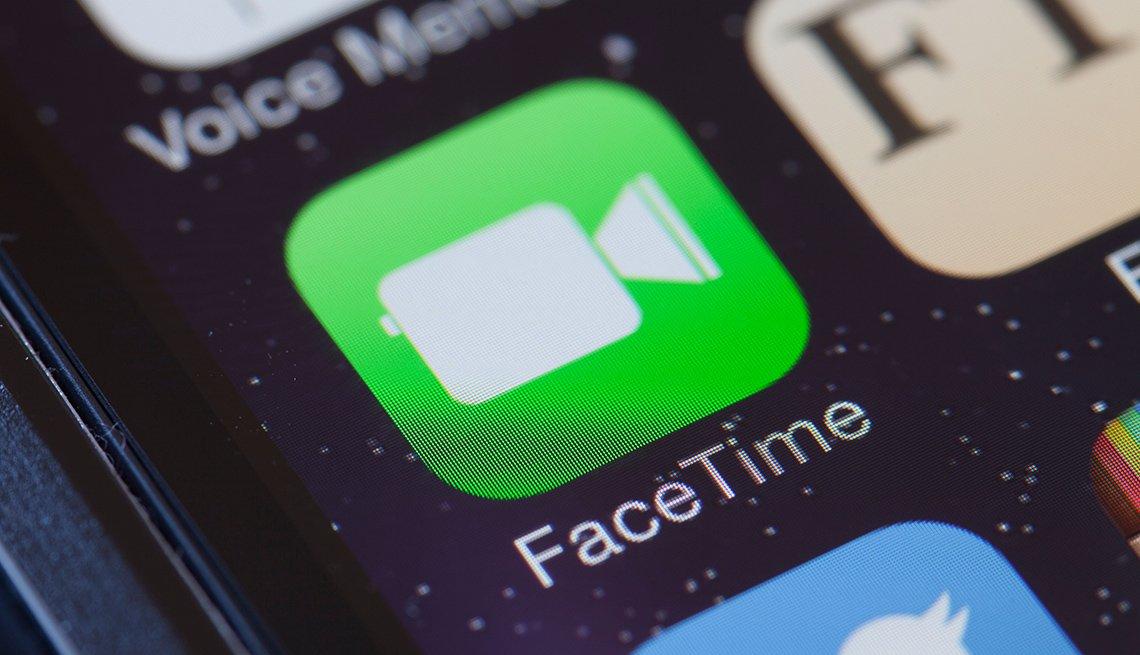 Applicación de Facetime en un teléfono iPhone