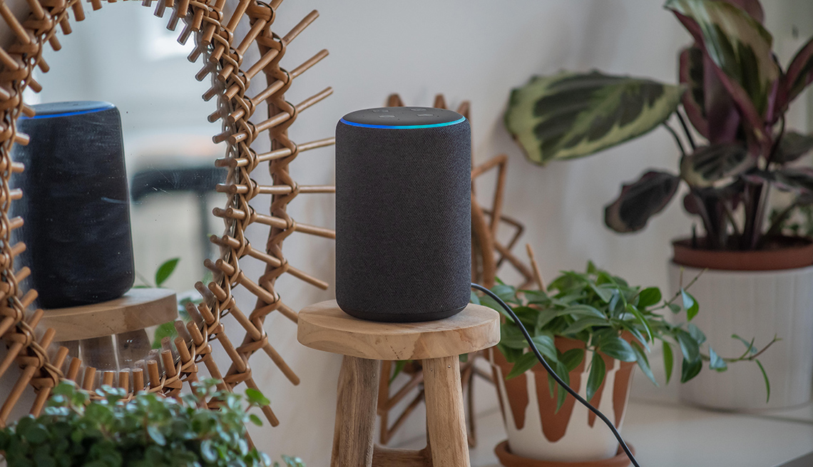 item 3 of Gallery image - Amazon Echo on a desk with books, sunglasses and a plant