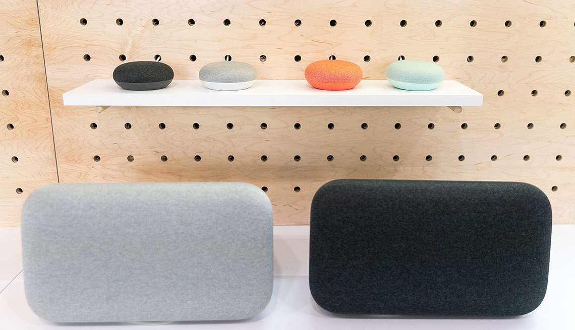 item 3 of Gallery image - Google's smart speaker devices, Google Home Mini 2 and Home Max 2 displayed