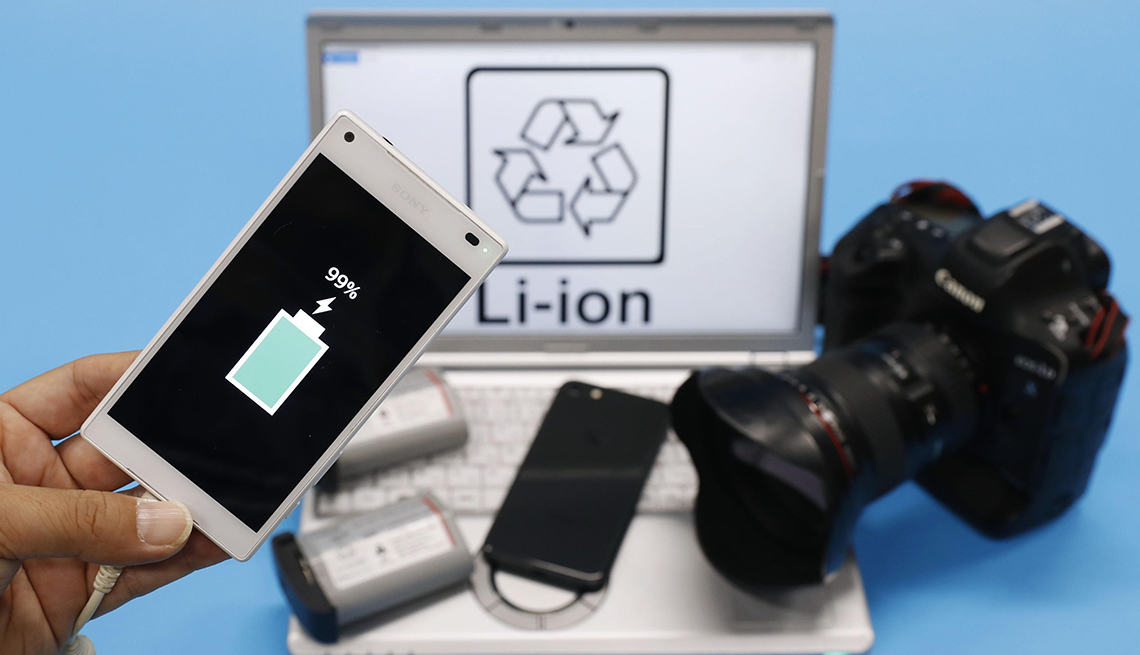 Photo taken in Tokyo on Oct. 10, 2019, shows electronic devices in which lithium-ion batteries are used