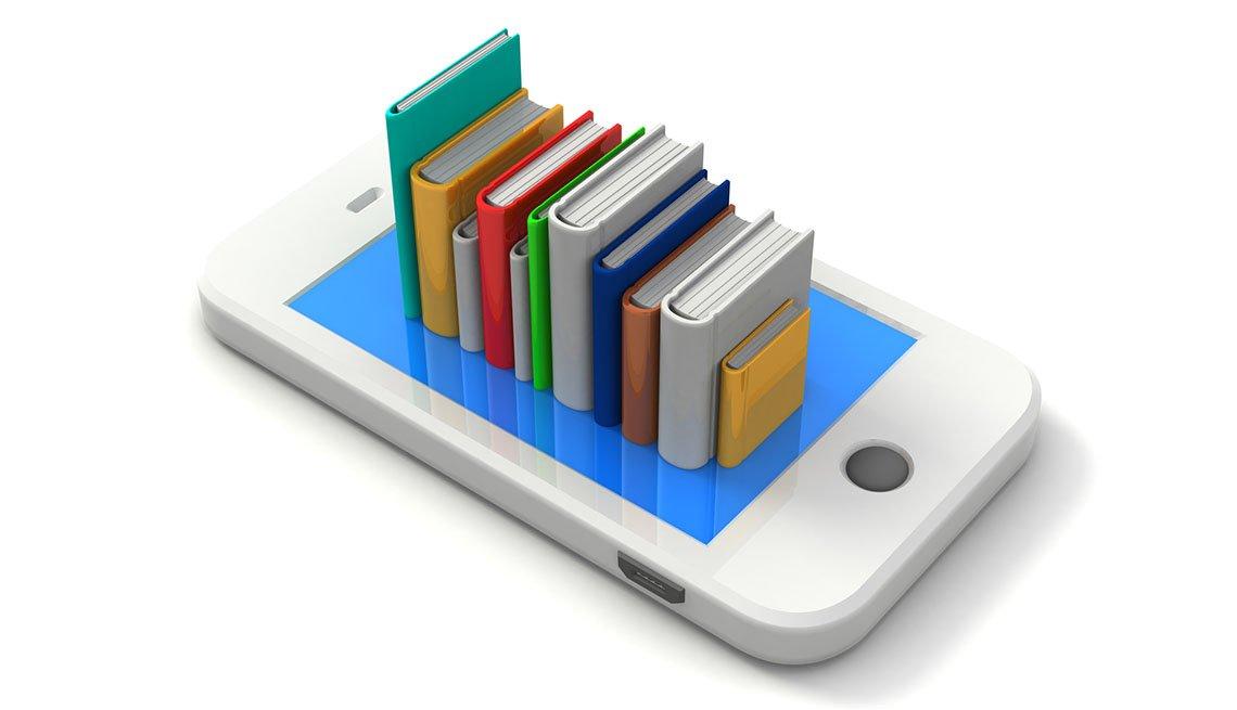 Imagen conceptual en 3D de una pila de libros en la parte superior de un teléfono celular