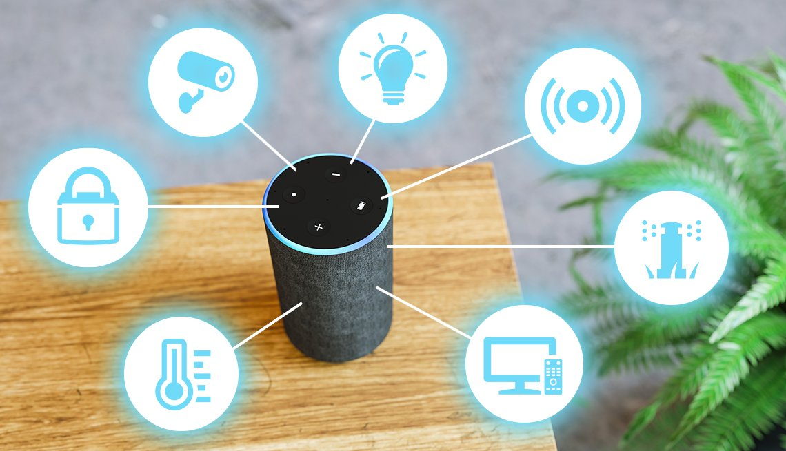 photo of smart speaker top view on a side table in a home. it is surrounded by icons that represent the items it can control such as locks, thermostat, security cameras, lights, audio, sprinkler, and television