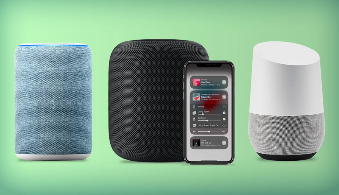 group of three brands of smart speakers. from left to right are shown the amazon echo, the apple home pod with phone controller, and google home speaker.