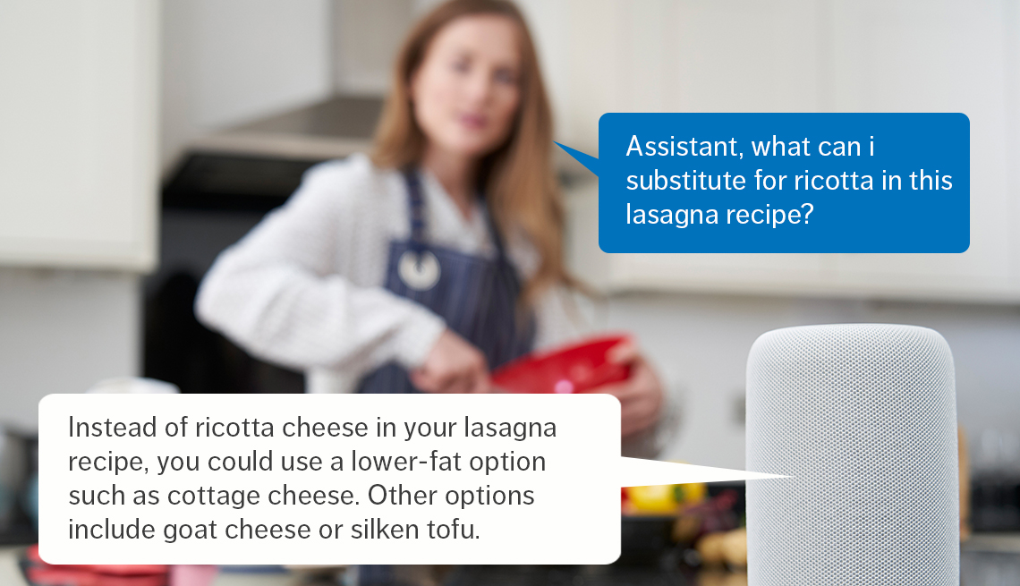woman preparing food in kitchen asking smart speaker  for an ingredient substitution