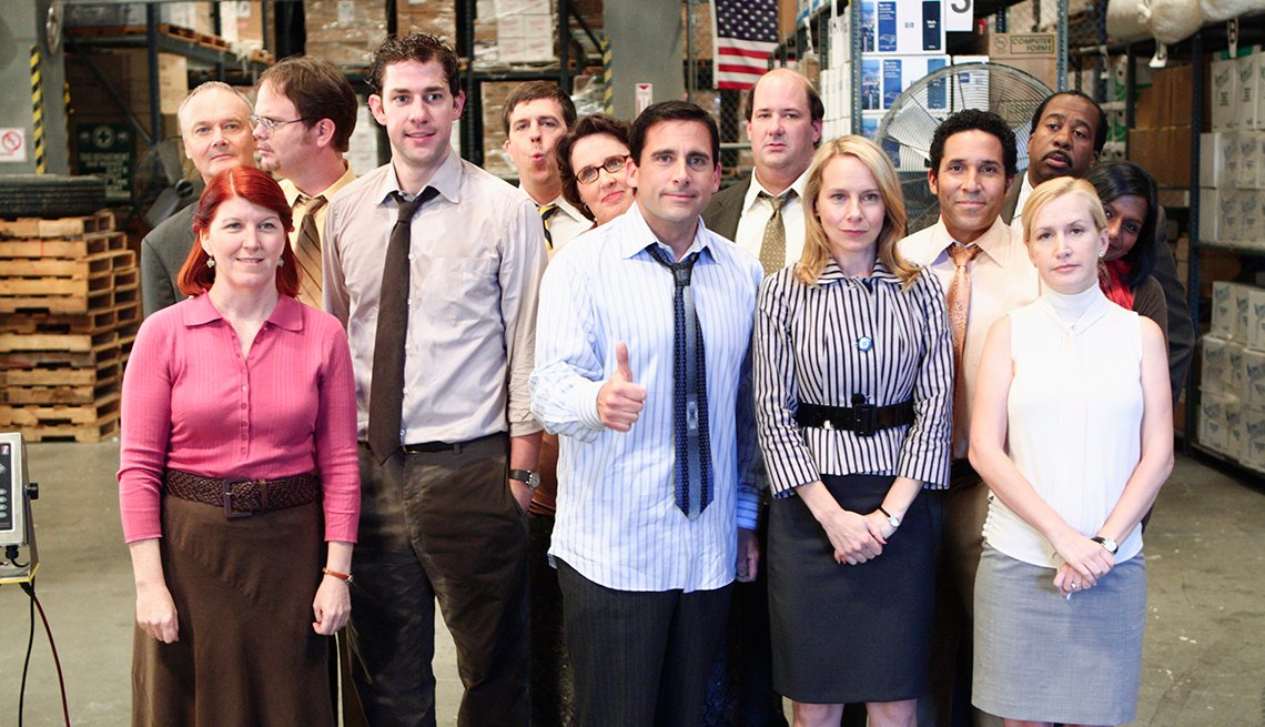 """THE OFFICE -- """"Weight Loss"""" Episode 1 -- Pictured: (l-r) Kate Flannery as Meredith Palmer, John Krasinski as Jim Halpert, Steve Carell as Michael Scott, Amy Ryan as Holly Flax, Angela Kinsey as Angela Martin (back row l-r) Creed Bratton as Creed Bratton,"""