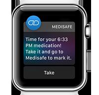 Recordatorio de Medisafe que se muestra en inglés en un dispositivo Apple Watch