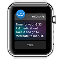 Medisafe reminder displayed on an Apple Watch device