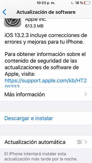Imagen muestra la actualización de software en un dispositivo Apple