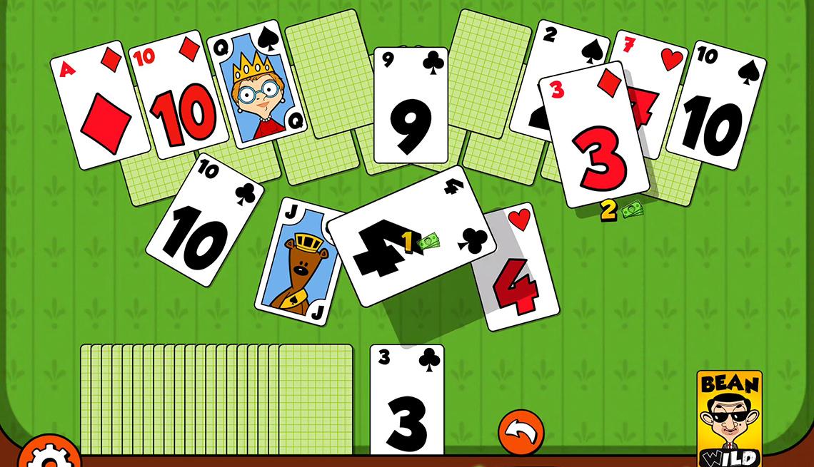 Imagen captada de pantalla del juego móvil Mr Bean Solitaire Adventures