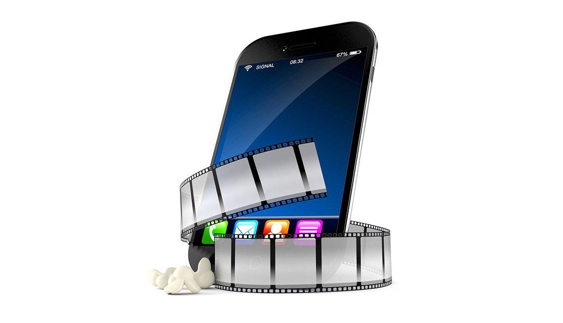 Ilustración 3D de un teléfono inteligente con una tira de película alrededor