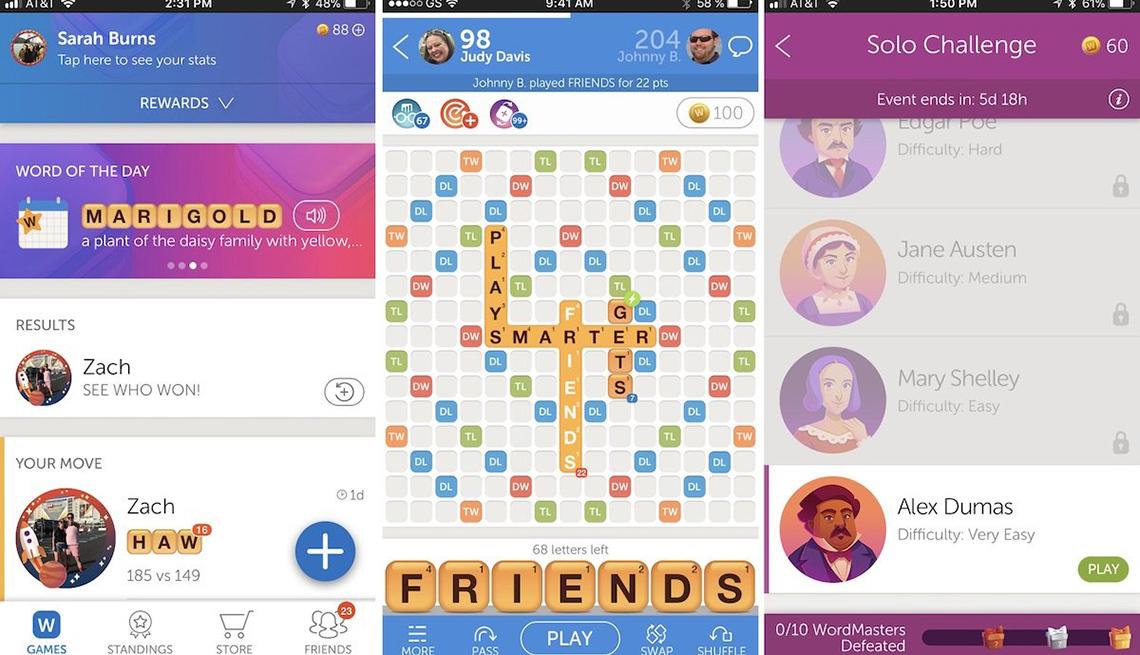 Imágenes captadas de pantalla del juego móvil Words With Friends