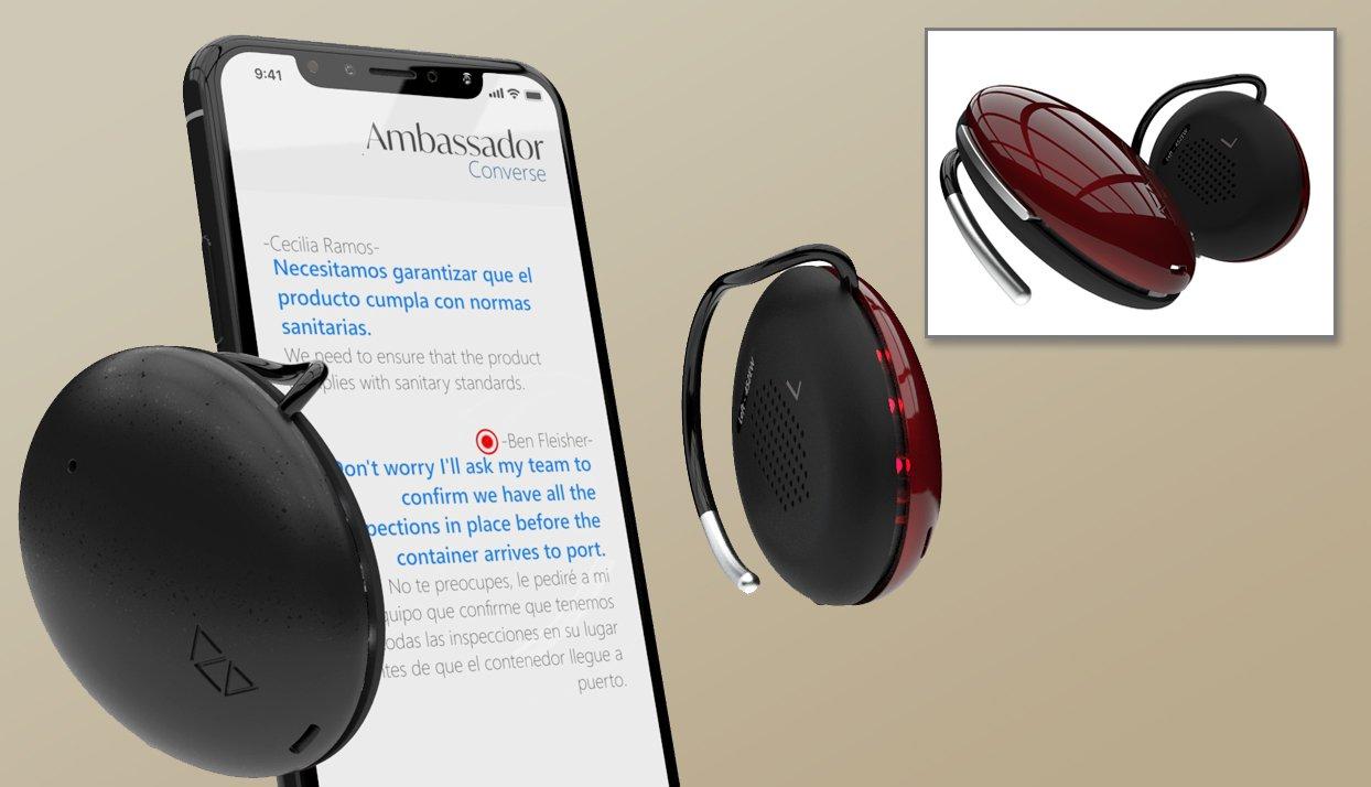 Dispositivo Ambassador junto a un teléfono inteligente