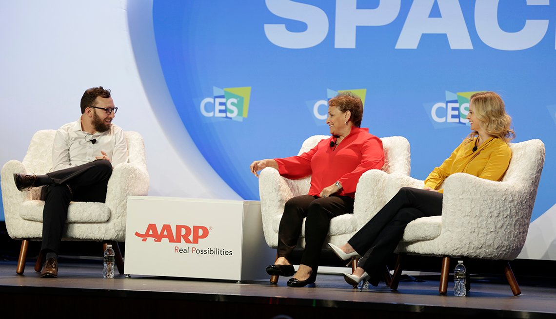 AARP CEO Jo Ann Jenkins on stage with two leaders in technology at a Consumer Electronics Show event