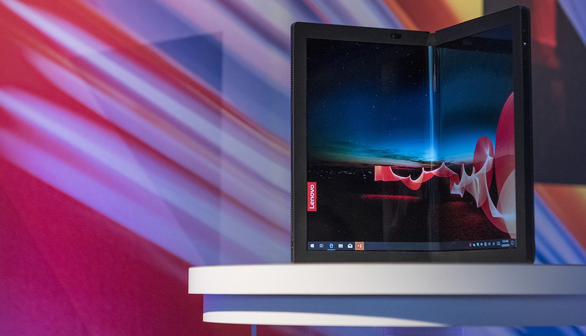 The Lenovo Group Ltd. ThinkPad X1 Fold sits on display at CES 2020 in Las Vegas, Nevada, U.S.