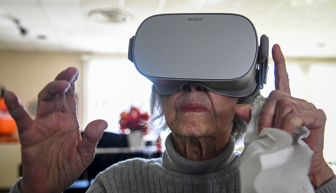 Mary Chiappetta, 89, experiences virtual nature scenes as senior citizens at Powhatan Nursing Home test virtual reality software and hardware