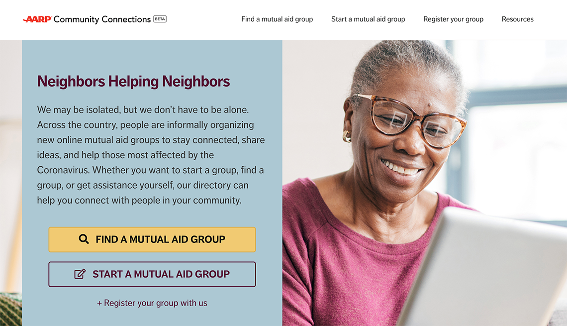 screenshot of the a a r p community connections website